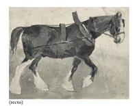un cheval de trait (+ trois groupes de chevaux avec cavaliers, verso) by théodore géricault