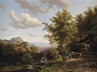 a summer landscape with figures resting near a stream by barend cornelis koekkoek