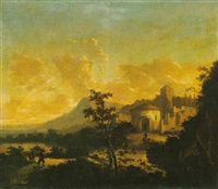 italianate landscape with huntsmen, a fortified house beyond by hans de jode