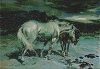 caballos en noche nevada by juan gonzález alacreu