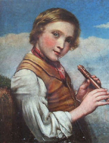 a young boy with a recorder by charles compton
