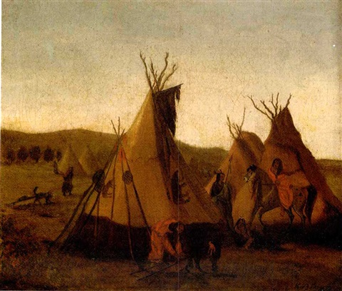 an assiniboin enc&ment at fort union (tent of an assiniboin chief) by karl bodmer & An Assiniboin encampment at Fort Union Tent of an Assiniboin Chief ...