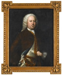 portrait of a gentleman, three-quarter length in a brown velvet coat and gold trim waistcoat by thomas hudson
