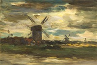 windmills at moonlight by jacob henricus maris