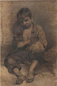 jeune mendiant assis endormi by nicolas toussaint charlet
