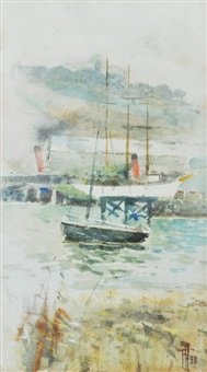 untitled harbour scene by frances mary hodgkins