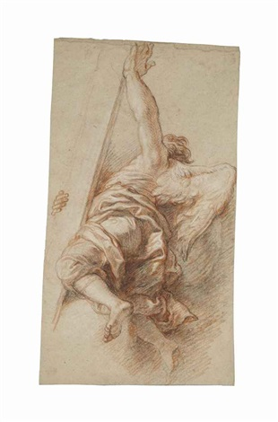 an angel seen from behind carrying the cross by charles de la fosse