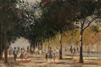 figures walking down a tree-lined avenue by roy petley