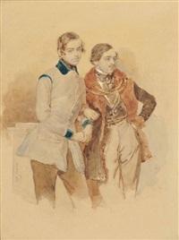 zwei junge herren - fürst rudolf kinsky und graf josef kinsky by josef kriehuber