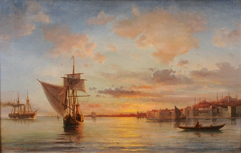 ships off constantinople by daniel hermann anton melbye