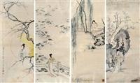 仕女 四屏镜框 设色绢本 (in 4 parts) by chen shaomei