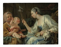 a lady entertaining a child of a savoyard woman with a pinwheel by noel halle