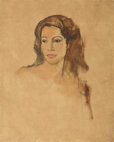 portrait of an indonesian beauty (+ 2 others; 3 works) by raden basoeki abdullah
