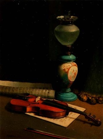 violin and oil lamp by giacomo tabellini