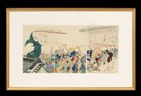 the umbrella give away (triptych) by toyohara chikanobu