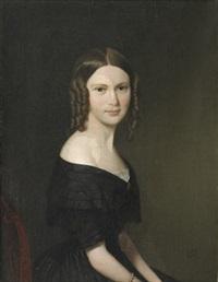 portræt af ung kvinde med brune slangekrøller i sort nedringet krinolinekjole, siddende på empirestol by niels peter holbech