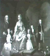 a group portrait of james, 13th earl of morton, and his   family by jeremiah davison