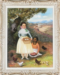 two young girls with chickens by horacio rentería rocha