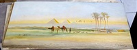 bedouin camp and camels before the nile (+ another; pair) by john coulson