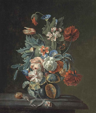 roses a parrot tulip poppies convolvulus and other flowers in a glass vase on a stone ledge with a pocket watch by simon pietersz verelst