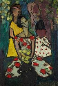 scène dans un parc et jeunes femmes au bouquet (2 works) by pola aivazian-rossi