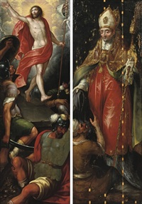 the resurrection of christ (+ saint martin, verso) by ambrosius francken the elder