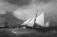 a british sloop in stormy seas, with a clipper ship in the distance off its bow by anglo-american school (19)