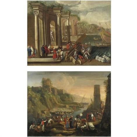 veduta di un porto con capriccio architettonico pair by alessandro salucci