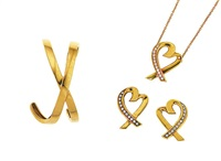 'loving heart' necklace with matching earrings, 'x' bangle of crossover openwork design, with matching earrings (6 pieces) by paloma picasso