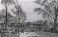 pond, trees, and a farm on a hill by allan gwynne-jones