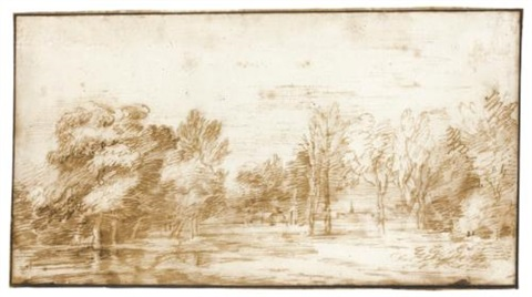 open wooded landscape with a distant view of a church by jan lievens