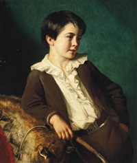 portrait of master john lethbridge of tregeare manor, launceston, devon, three-quarter-length, in a brown suit holding a whip, leaning on an animal pelt by eden upton eddis
