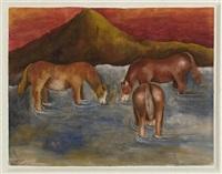caballos en el río by maría izquierdo