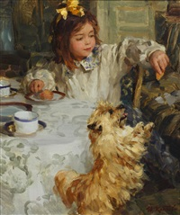 child feeding a terrier at the table by yuri krotov