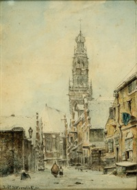 mother and child walking in the direction of the bakenesser tower in haarlem by johannes hilverdink