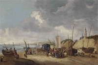 figures resting on a shore with boats and a horse-drawn carriage, other sailing vessels at sea and a church beyond by cornelis beelt