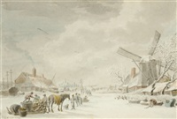 ice skaters in a winter landscape (+ ice skaters near snow-covered houses, 1777, lrgr; 2 works) by cornelis van noorde