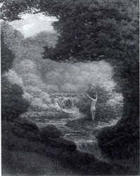 nymphs by a waterfall by james william fosdick