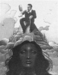man on mountain looking in mirror, giant woman's head by roger hane