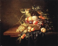 peaches, plums and grapes in a wicker basket on a partially draped wooden ledge by laurens craen