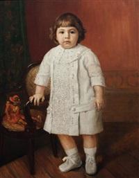 portrait de petite fille avec un polichinelle by stephane leroy
