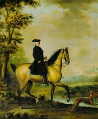 a gentleman out riding, windsor castle beyond by david morier