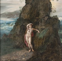 mosan landscape angelica at the rock by herri met de bles
