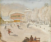 skaters in switzerland by frederick carl frieseke