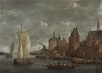 a river landscape with travellers on a ferry boat and other shipping by a quayside by johannes storck