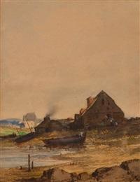 maisons bretonnes et barques de pêche by jules achille noel