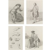 a man seen from behind, holding a basket (+ 3 others; 4 works) by nicholaes muys