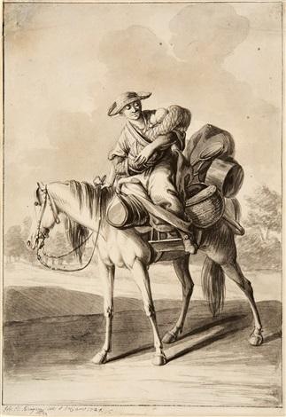 eine frau mit wickelkind auf der reise by johann elias ridinger