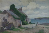 anglesey bay with whitewashed house, figures, poultry and boats by john mcdougal
