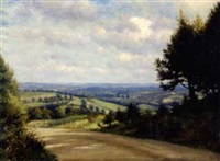a glimpse of the hills, south downs, sussex by walter field